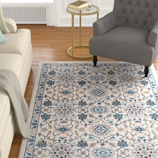 Kent Traditional Floral Taupe/Teal Area Rug by Charlton Home