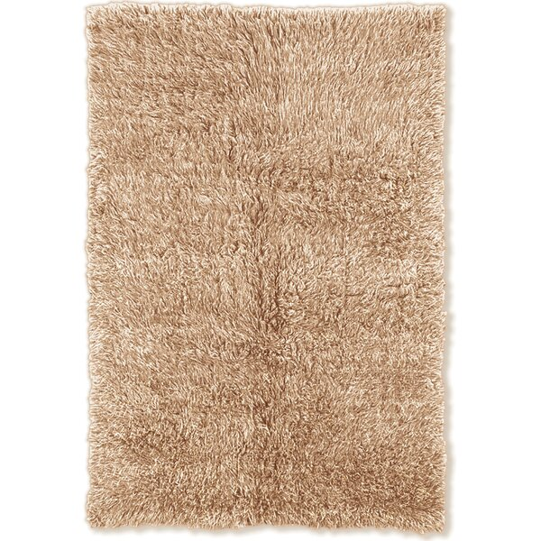 Bloomville Flokati Wool Tan/White Area Rug by Charlton Home