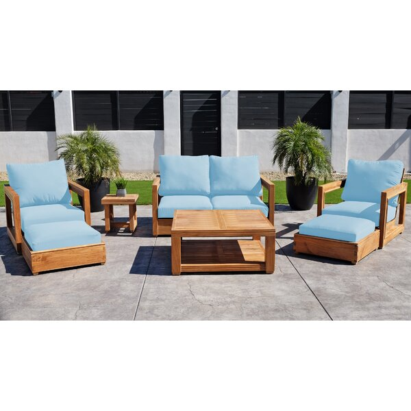 Crelake 7 Piece Teak Sunbrella Complete Patio Set with Cushions by Foundry Select