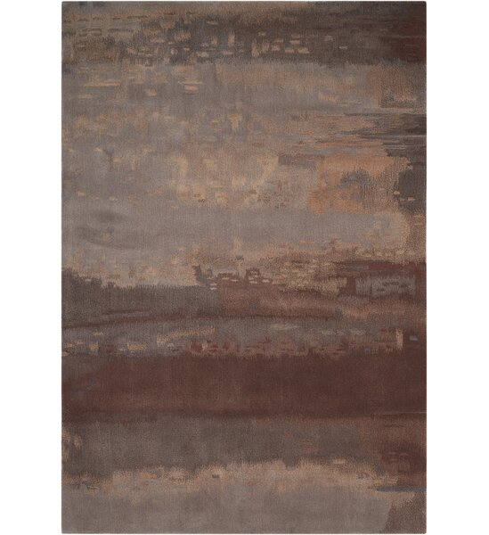 Luster Wash Hand Woven Wool Slate/Brown Area Rug by Calvin Klein