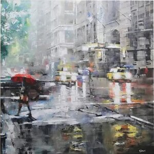 'Manhattan Red Umbrella' Painting Print on Canvas by East Urban Home