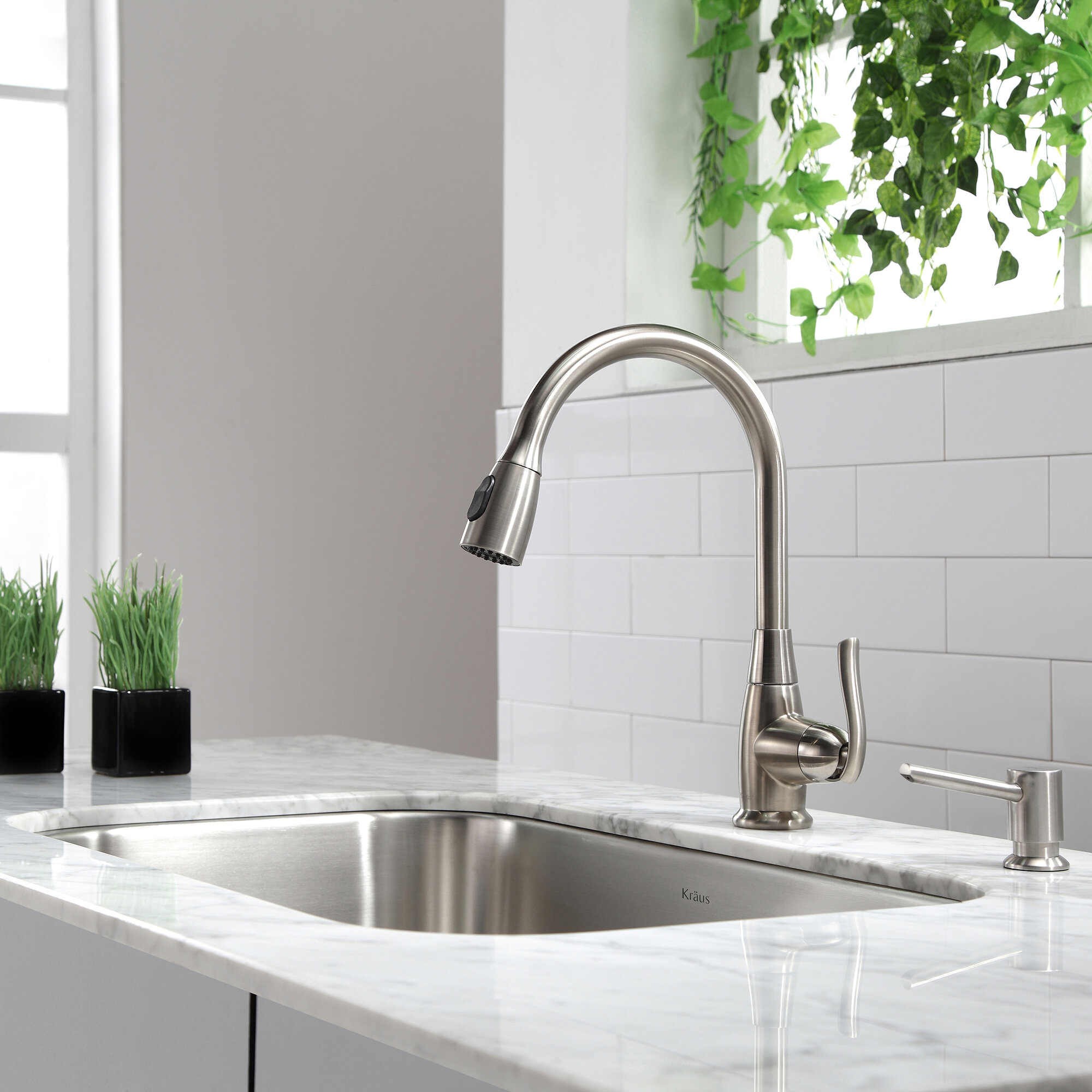 Premium Faucets Pull Down Single Handle Kitchen Faucet with Optional Soap  Dispenser