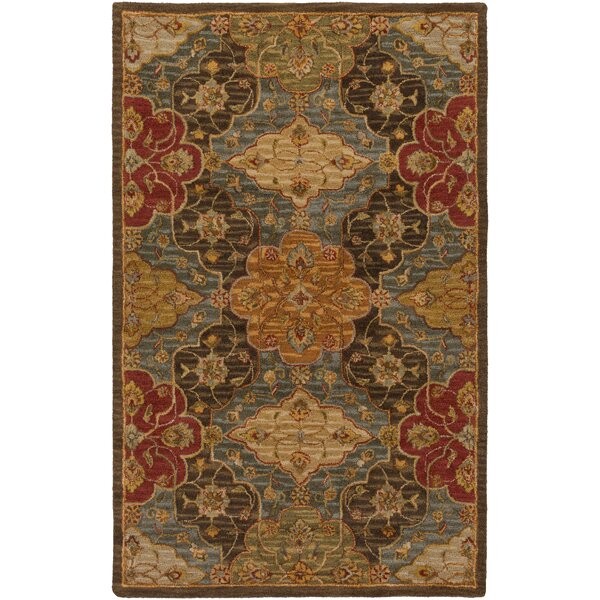 Burwood Fatigue Hand-Tufted Wool Fatigue Green/Camel Area Rug by Alcott Hill