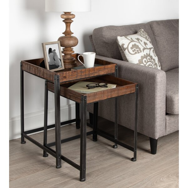 Malachy Rustic-Modern Side Accent 2 Piece Nesting Tables By 17 Stories