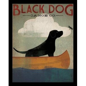 'Black Labrador Dog Canoe' by Ryan Fowler Framed Vintage Advertisement by Buy Art For Less