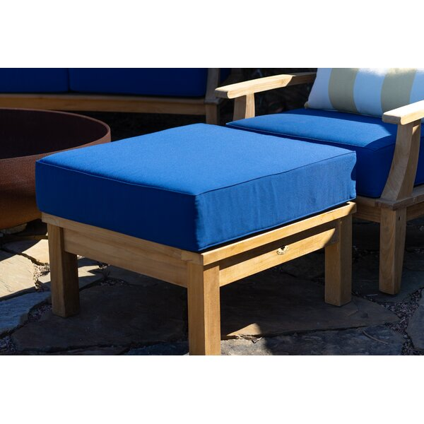 Galvan Outdoor Teak Ottoman with Cushion by Rosecliff Heights