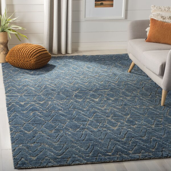 Merriam Contemporary Hand Tufted Wool Blue Area Rug by Bloomsbury Market