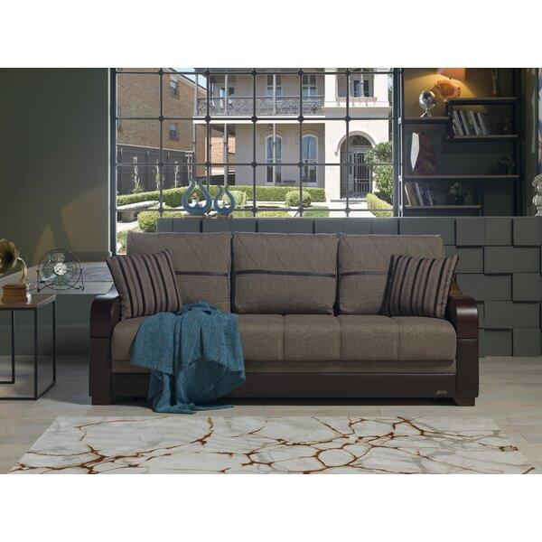 Florio Leather Convertible Sofa by Ebern Designs