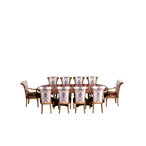 Ana 9 Piece Removable Leaf Solid Wood Dining Set