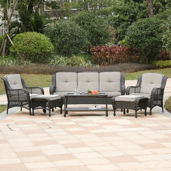 Wynsum 6 Piece Rattan Sofa Set with Cushions by August Grove