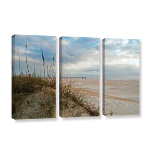 'Chuck Burdick Sand Dunes I' 3 Piece Photographic Print on Wrapped Canvas Set by Rosecliff Heights