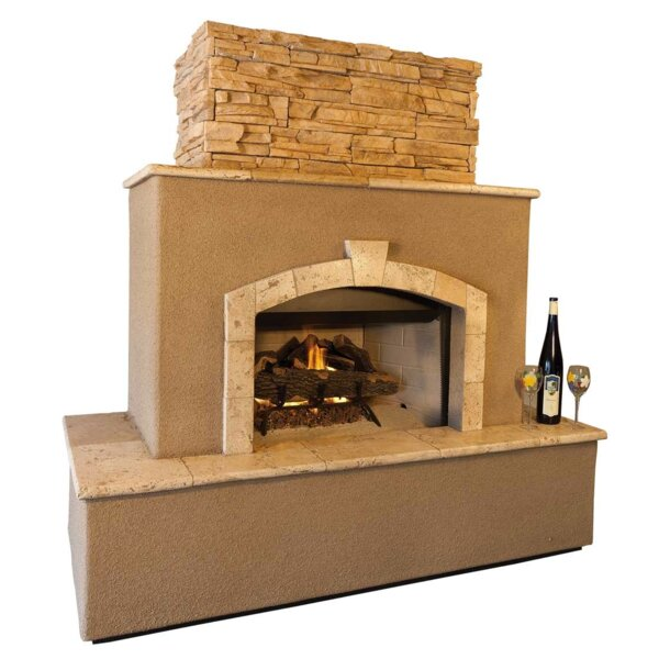Tuscan Concrete Gas Outdoor Fireplace by Kokomo Grills