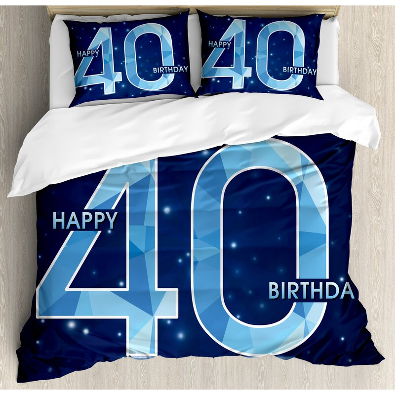 40th Birthday Decorations Abstract Modern Design Geometrical Number Forty Emblem Duvet Cover Set