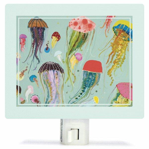 Floating Jellyfish Aqua by Eli Halpin Canvas Night Light by Oopsy Daisy