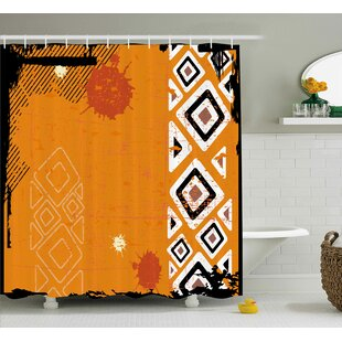 Best Reviews Muriel Tribal Ethnic African Design With Bold Lines Geometric Triangles Artwork Image Shower Curtain By Ebern Designs