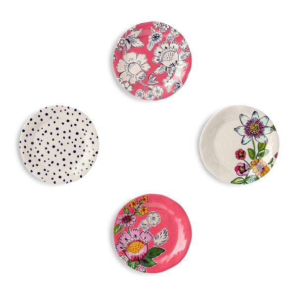 Tidbit Coral Floral Medley 4 Piece Melamine Bread and Butter Plate Set by Vera Bradley