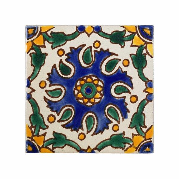 Mediterranean 4 x 4 Ceramic Seville Decorative Tile in Blue by Casablanca Market