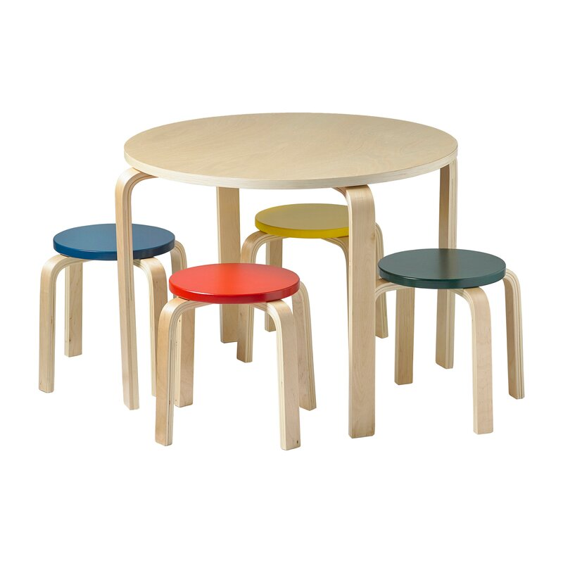 ECR4Kids Bentwood Kids' 5 Piece Round Table and Chair Set & Reviews |  Wayfair - ECR4Kids Bentwood Kids' 5 Piece Round Table And Chair Set & Reviews