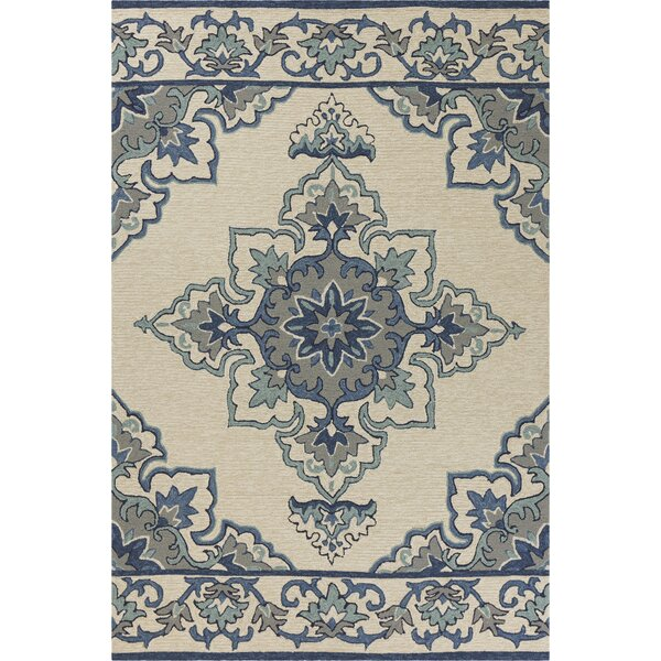 Edinburgh Hand-Woven Ivory/Blue Indoor/Outdoor Area Rug by Charlton Home