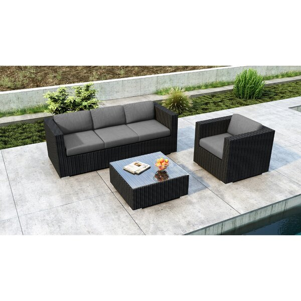 Glendale 3 Piece Sofa Set with Sunbrella Cushion by Everly Quinn