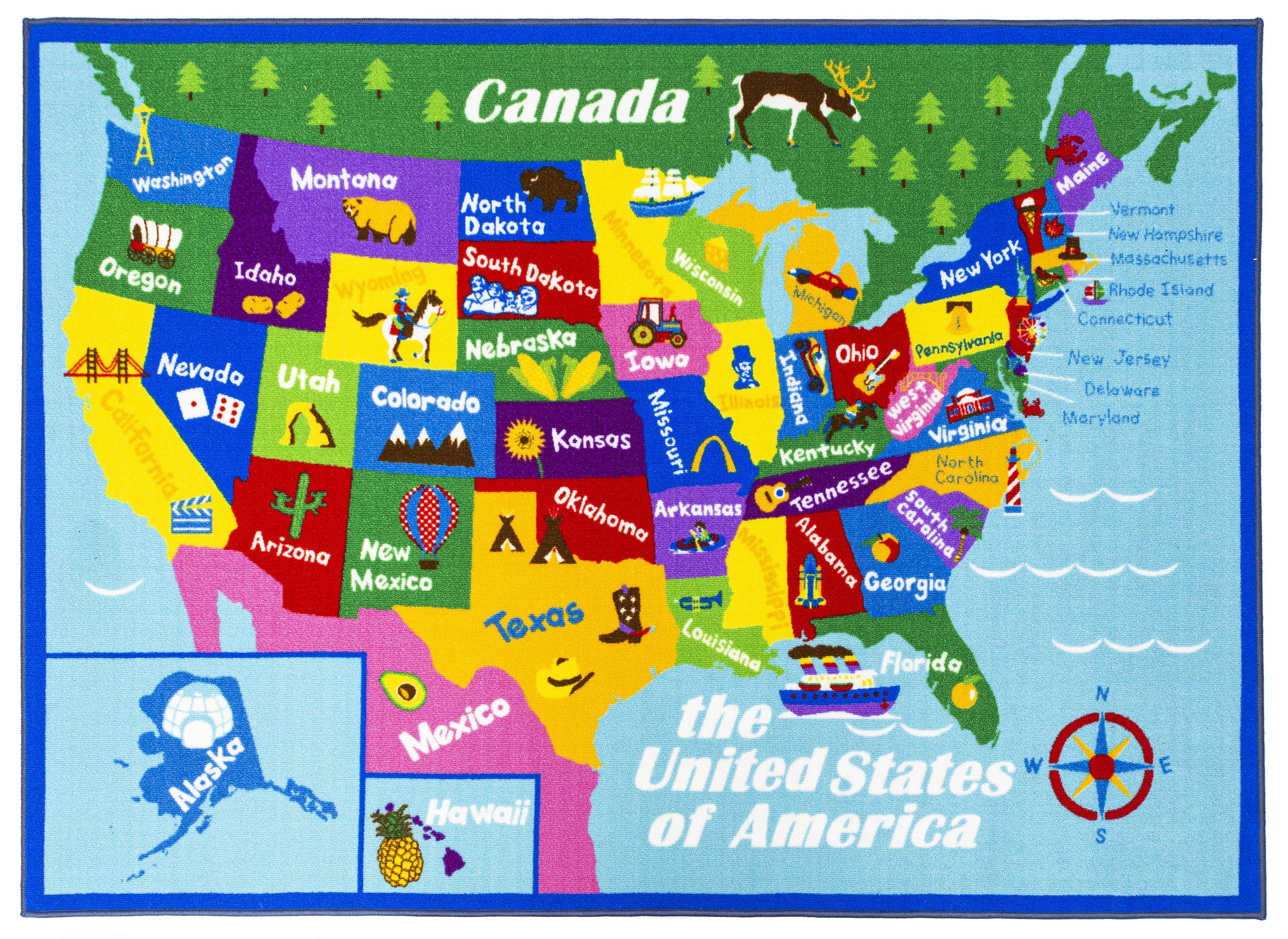 Swanigan Educational USA States Map Princess World Reversible Fun Kids  Green Area Rug