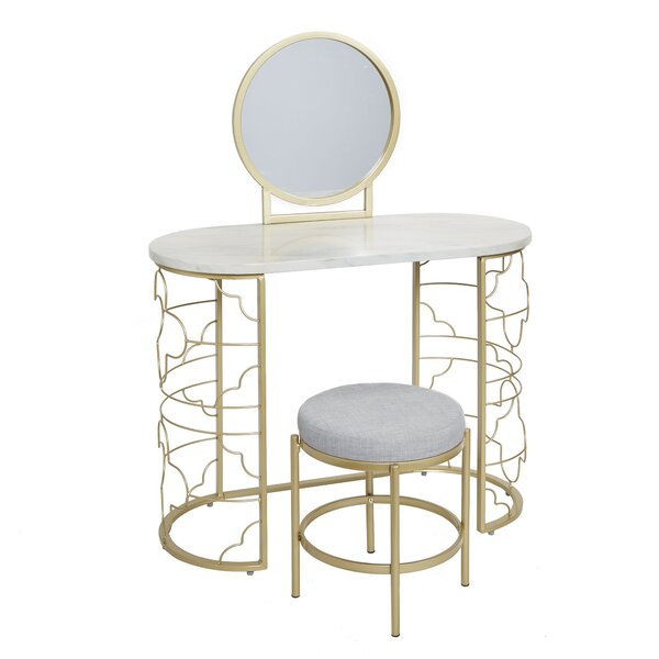 Lenz Vanity Set with Mirror by House of Hampton
