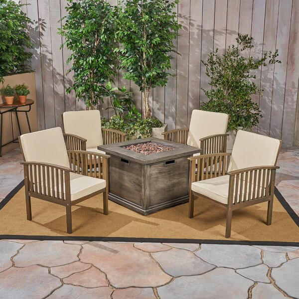 Safira 5 Piece Multiple Chairs Seating Group with Cushions by Beachcrest Home