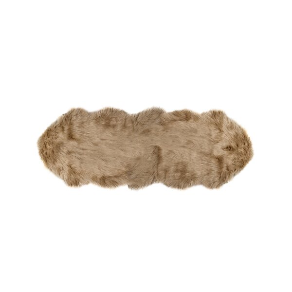 Shayne Sheepskin Tan Area Rug by Union Rustic
