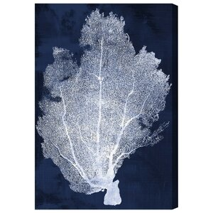 Coral Fan Cyanotype Painting Print on Wrapped Canvas by Oliver Gal