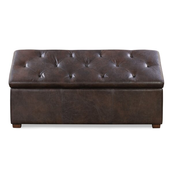 Gable Leather Tufted Storage Ottoman