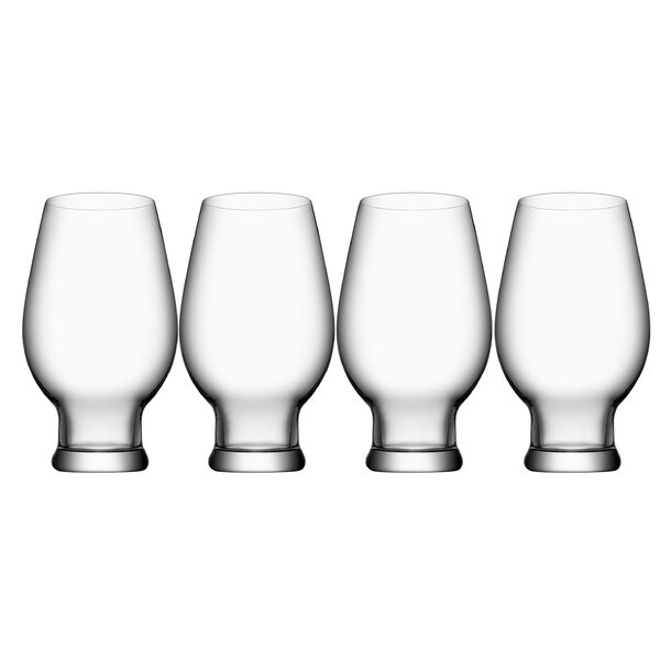 Beer India Pale Ale 16 oz. Crystal Pint Glass (Set of 4) by Orrefors