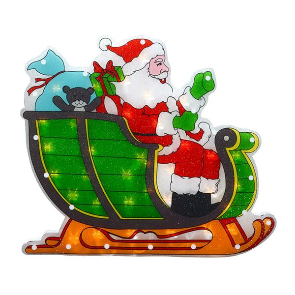 Double-Sided Shimmering Santa in Sleigh Christmas Window Lighting Display by The Holiday Aisle