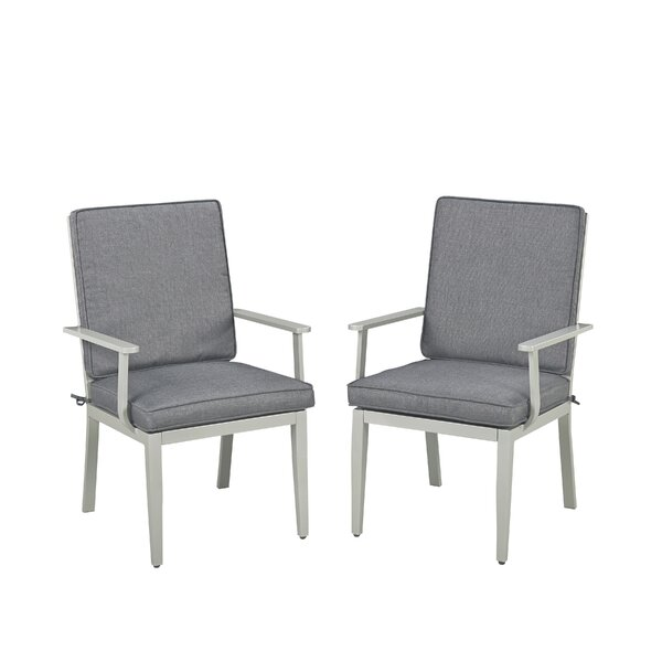 Dinan Stacking Patio Dining Chair with Cushion (Set of 2) by Red Barrel Studio