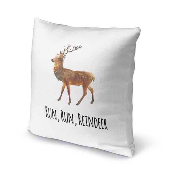 Run, Run, Reindeer Throw Pillow by KAVKA DESIGNS
