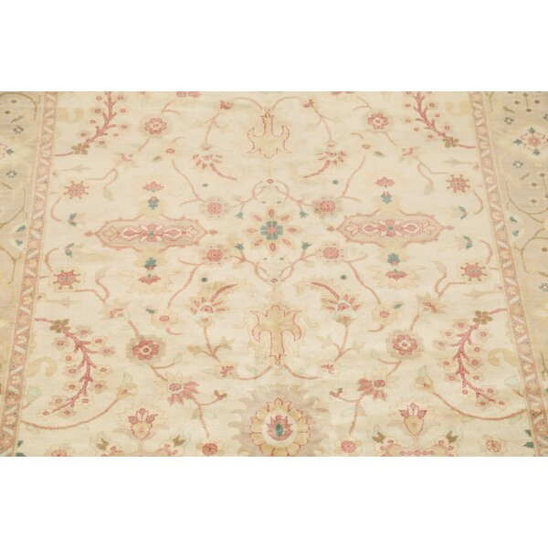 Ivana Oushak Oriental Hand-Knotted Wool Beige/Ivory Area Rug by Bloomsbury Market