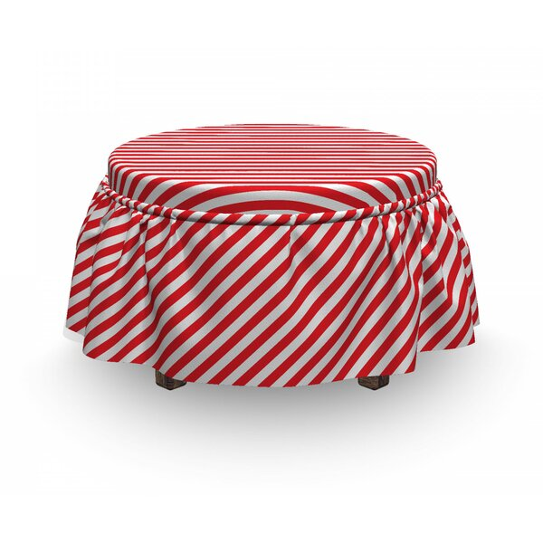 Candy Cane Diagonal Lines 2 Piece Box Cushion Ottoman Slipcover Set By East Urban Home