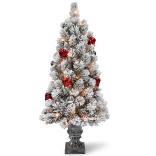 Snowy Bristle Tabletop 2 White Green Pine Trees Artificial Christmas Tree With 35 Led Clear White Lights