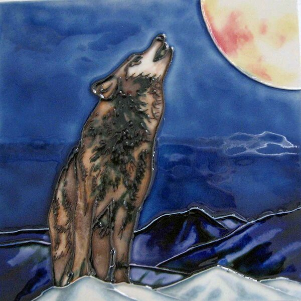 Wolf Tile Wall Decor by Continental Art Center