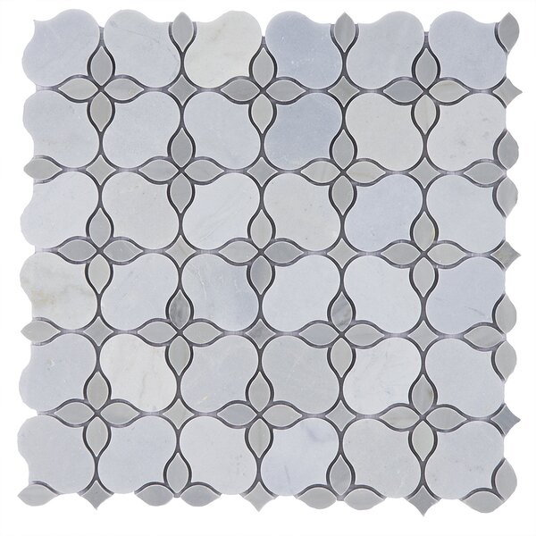 Flora Random Sized Marble Mosaic Tile in Gray/White by Byzantin Mosaic