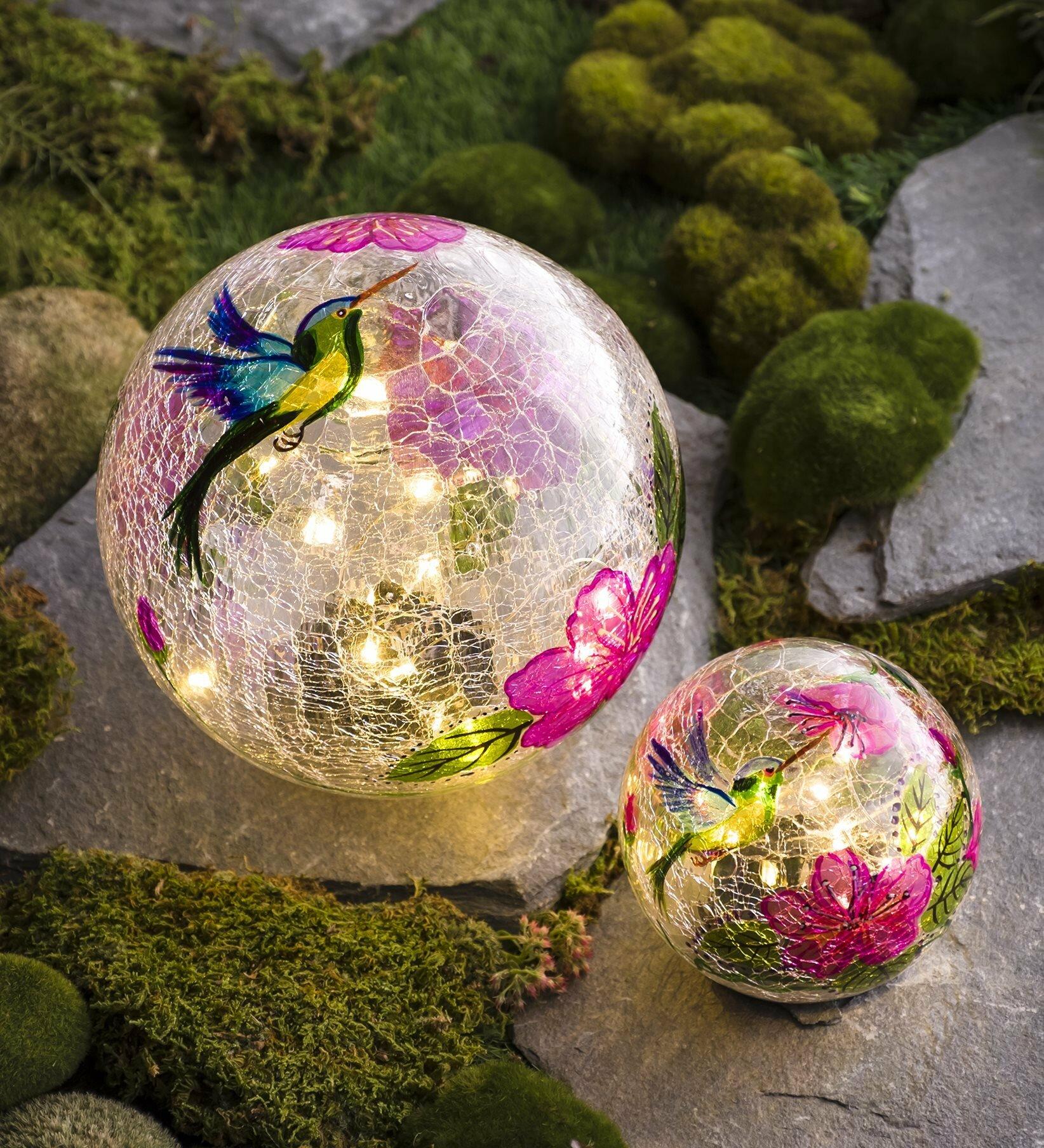Plow Hearth Hummingbird Crackle 2 Piece Gazing Ball Set Reviews Wayfair