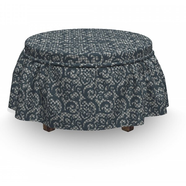 Lace Flower Design 2 Piece Box Cushion Ottoman Slipcover Set By East Urban Home