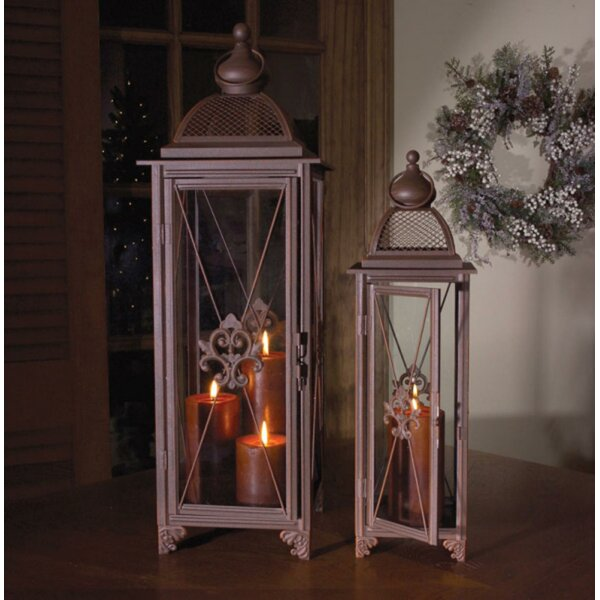 Fleur-De-Lis Pillar 2 Piece Metal/Glass Lantern Set by Fleur De Lis Living