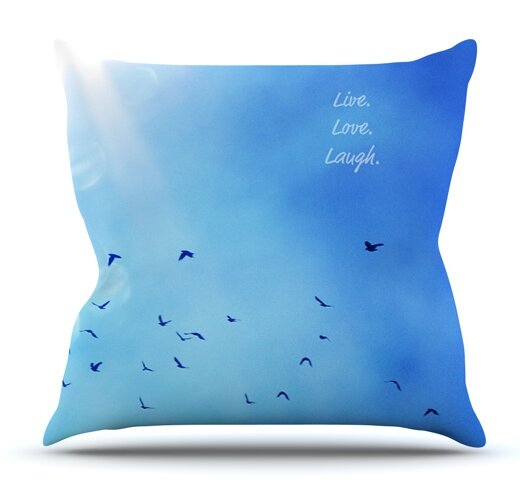Live Love Laugh by Robin Dickinson Outdoor Throw Pillow by East Urban Home