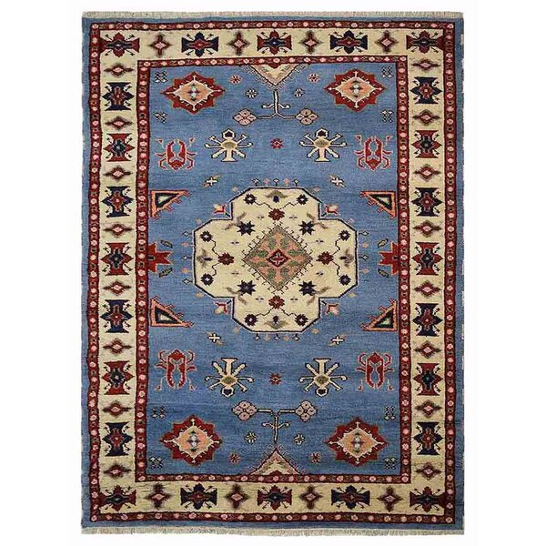 Corrin Hand-Knotted Blue/White Area Rug by Bloomsbury Market