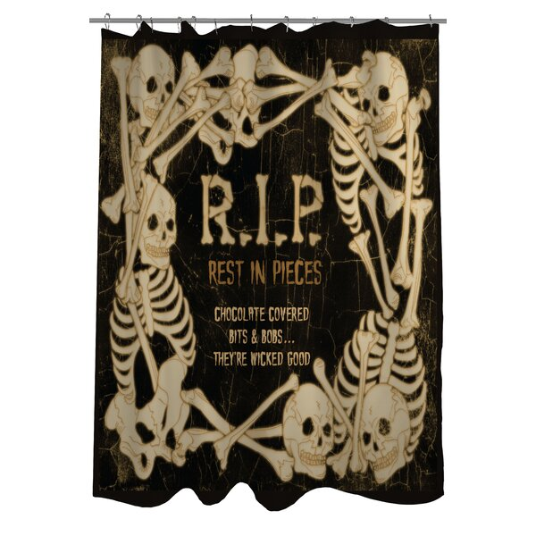 RIP Skeleton Border Shower Curtain by One Bella Casa