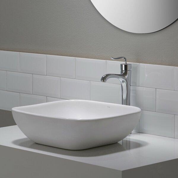 Elavo Ceramic Square Vessel Bathroom Sink by Kraus