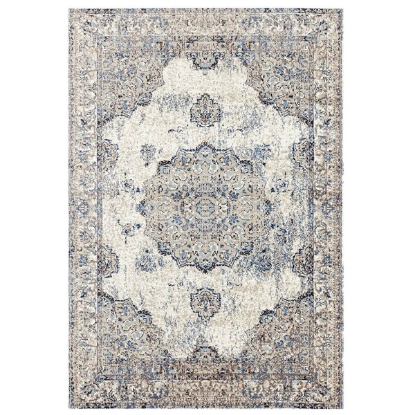 Cartwright Traditional Ivory/Blue Area Rug by Bungalow Rose