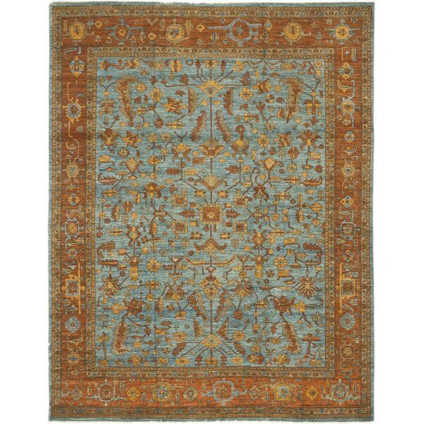One-of-a-Kind Heimbach Hand-Knotted Wool Blue/Brown Indoor Area Rug by Bloomsbury Market