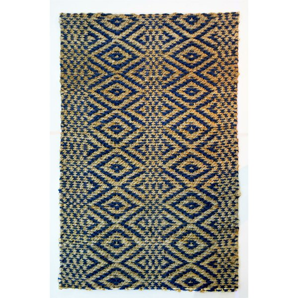 One-of-a-Kind Rieke Stripe Diamond Hand-Woven Blue/Beige Indoor/Outdoor Area Rug by World Menagerie