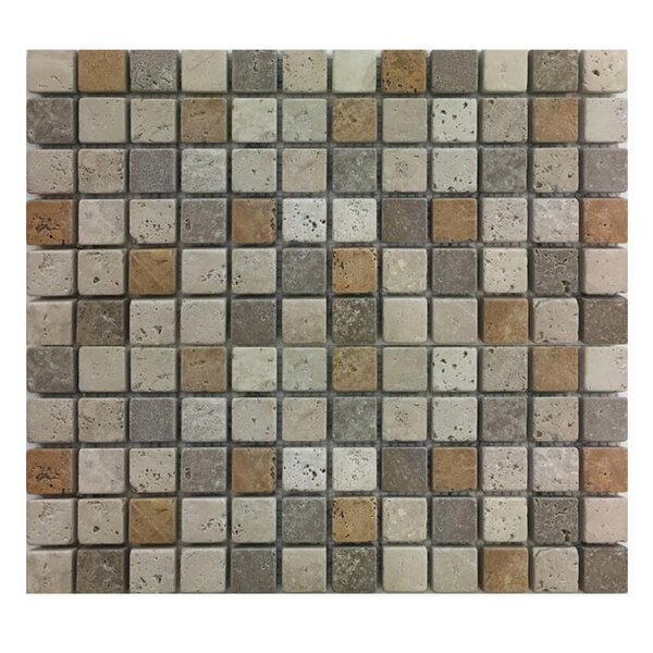 Tumbled 1 x 1 Natural Stone Mosaic Tile in Gold/Noce by QDI Surfaces